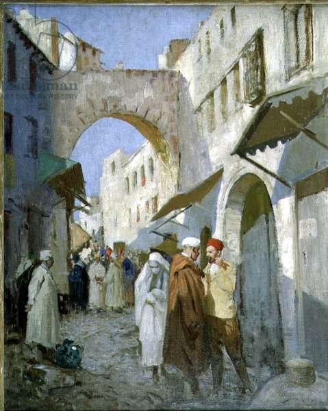 Moroccan Street Scene (Tetuan) (oil on canvas)