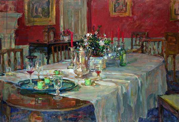 Dining Table with Silver Jug (oil on canvas)