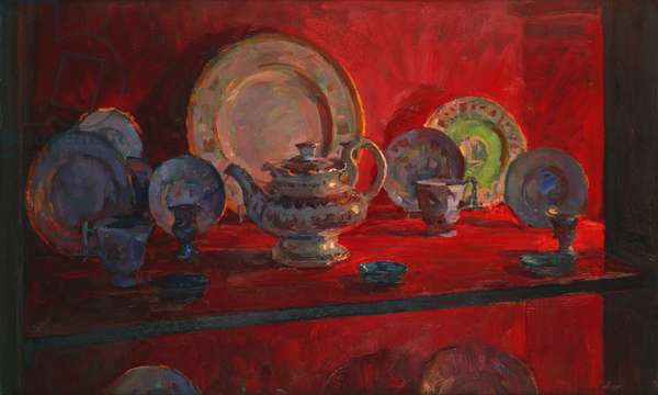 Red Alcove with Teapot (oil on canvas)
