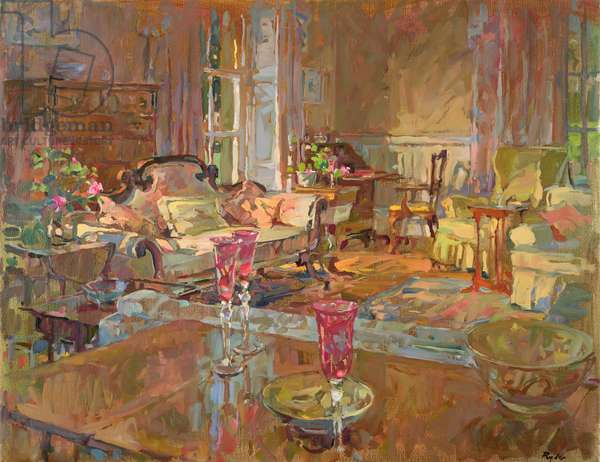 Drawing Room with Venetian Glass (oil on canvas)