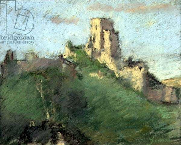 Corfe Castle, Dorset (pastel on paper)