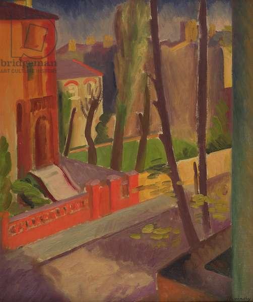 Tree-Lined Street (oil on canvas)