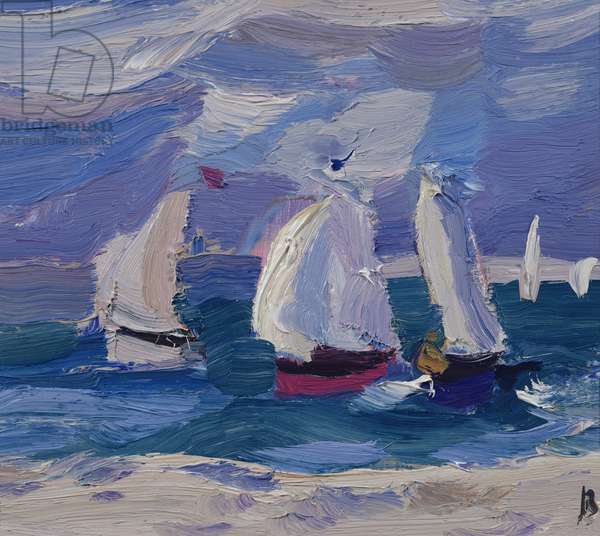 Dinghies racing in Poole Harbour (oil on board)