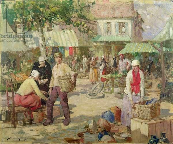 A Breton Market (oil on canvas)