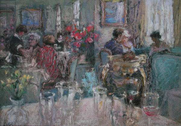 Festive Lunches at Fortnum's (pastel on paper)