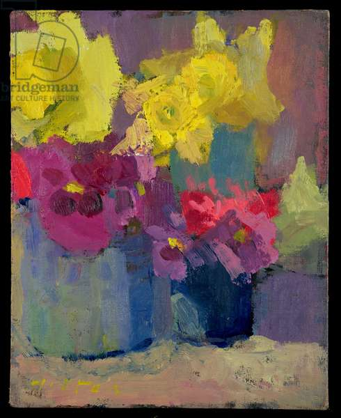 Daffodils and Pansies (oil on canvas)