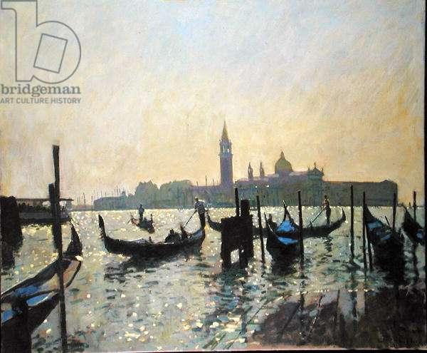 Gondolas at San Giorgio (oil on canvas)
