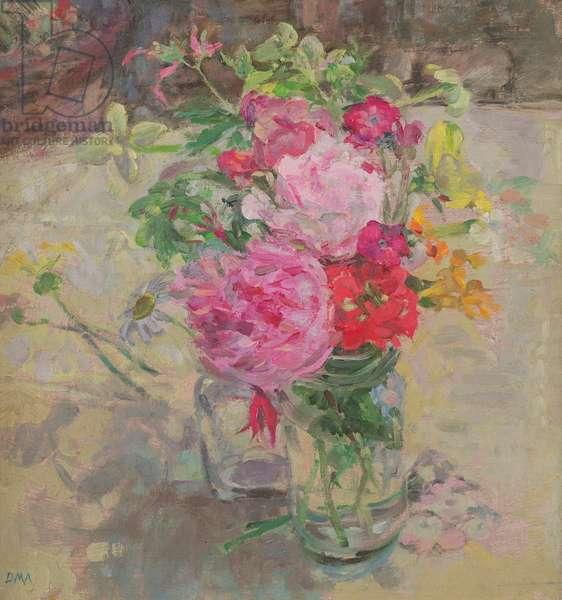 Flowers in the High Summer, Llwynhir (oil on board)