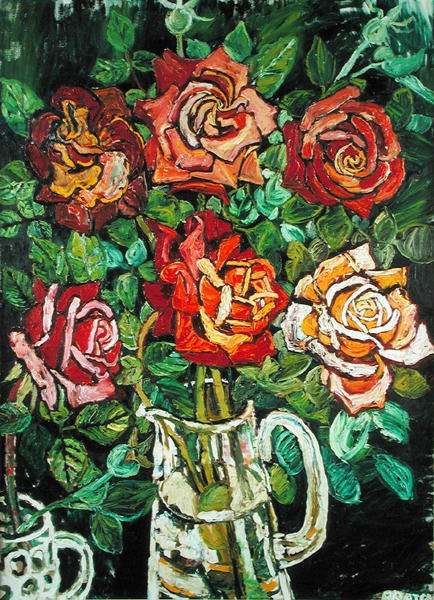 Royal Roses in a Glass Mug, 1968 (oil on canvas)