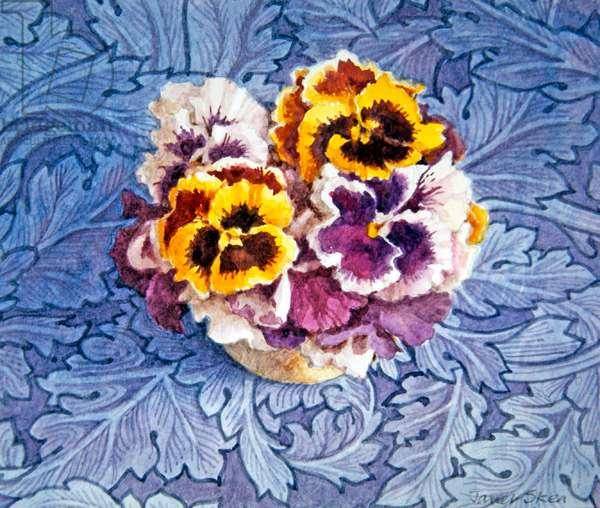 Pansies and William Morris (w/c on paper)