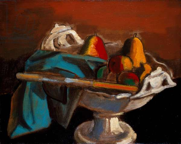 Still Life with a White Bowl (oil on canvas)