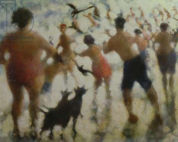 Into the Sea II, Bathers, Coney Island (oil on canvas)