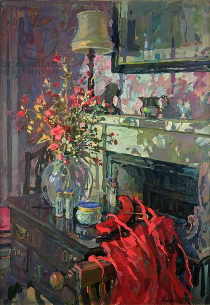 Interior with Red Dress (oil on canvas)