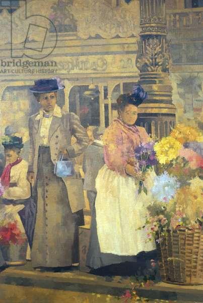 Flower Seller, London (oil on canvas)
