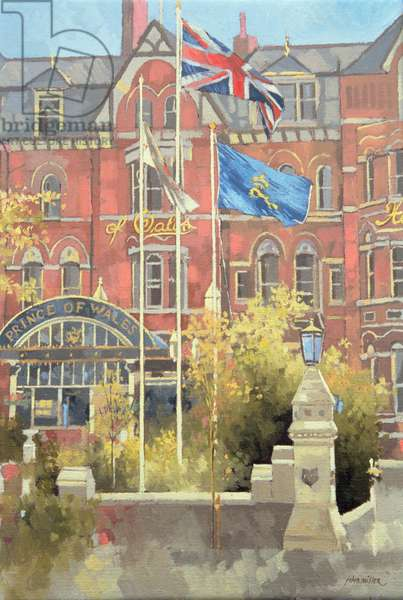 Flags outside the Prince of Wales, Southport, 1991 (oil on canvas)