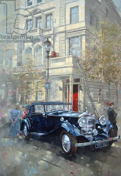 Phantom II into Queens Gate Mews (oil on canvas)