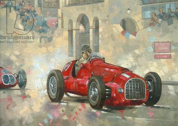 Whitehead's Ferrari passing the pavillion, Jersey (oil on canvas)