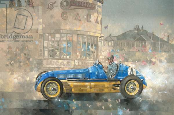 Blue and Yellow Maserati of Bira (oil on canvas)