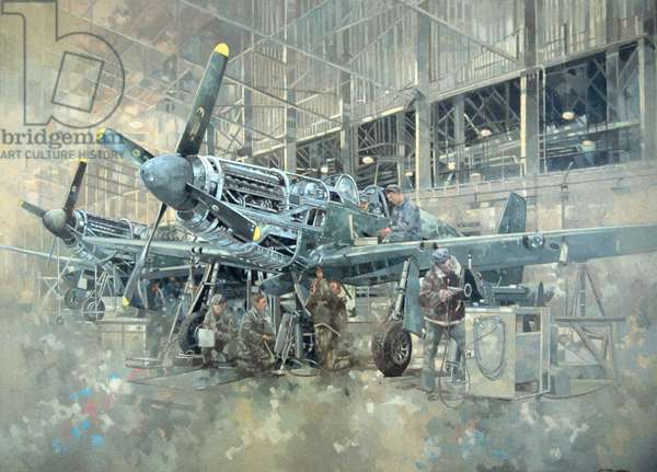 Mustang at Warton (oil on canvas)