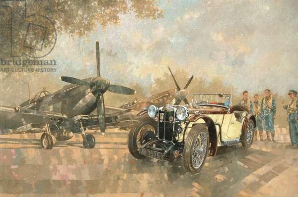Cream Cracker MG 4 Spitfires (oil on canvas)