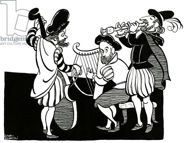 Restoration musicians in musical ensemble - caricature by John Minnion