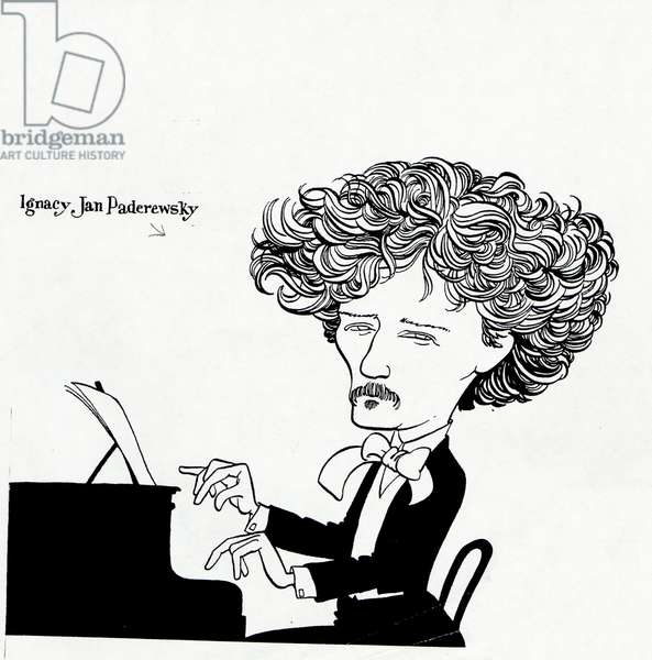 PADEREWSKI, Ignacy at the piano caricature by John Minnion Polish composer & pianist, 1860-1941