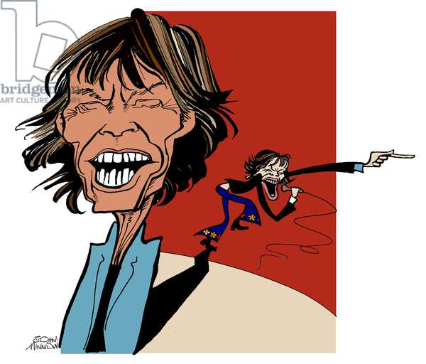 Mick Jaggar and his shadow - caricature by John Minnion