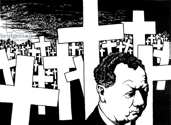 Benjamin Britten, caricature by John Minnion Depicted with crosses, a cemetery symbolising World War II