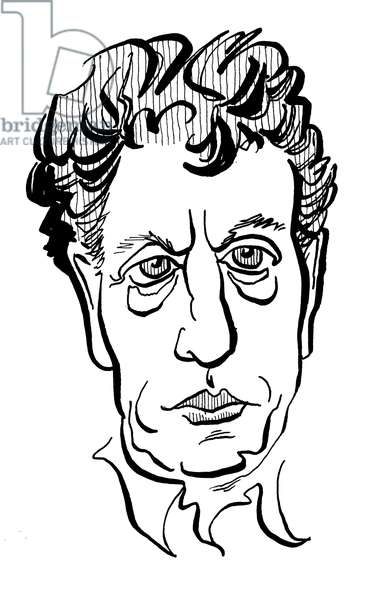 Philip Glass, caricature by John Minnion American composer