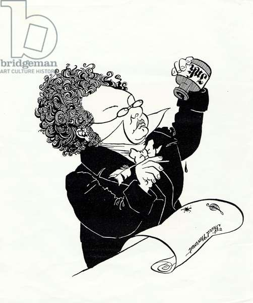 Franz Schubert  caricature by John Minnion Blotting ink on empty scroll headed Third Movement