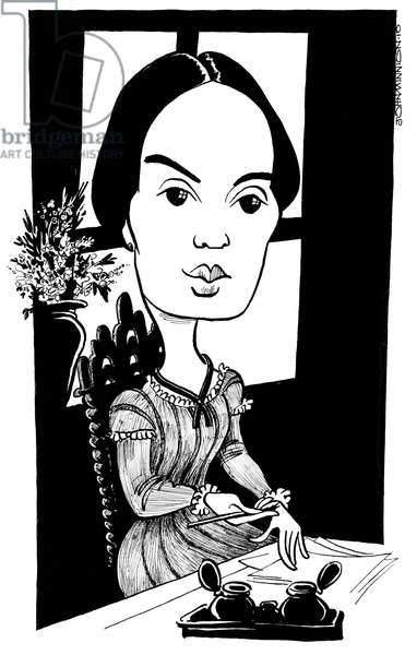 Emily Dickinson - caricature by John Minnion