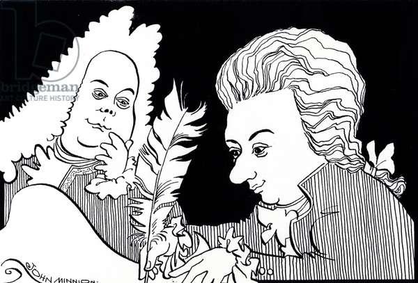 Wolfgang Amadeus Mozart and George Frideric Handel- - caricature