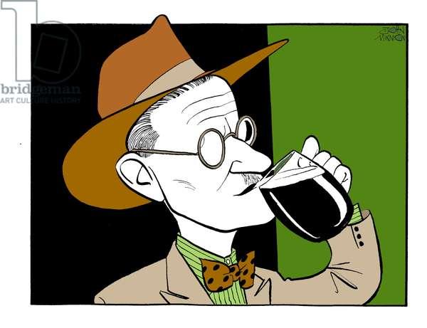 James Joyce drinking beer
