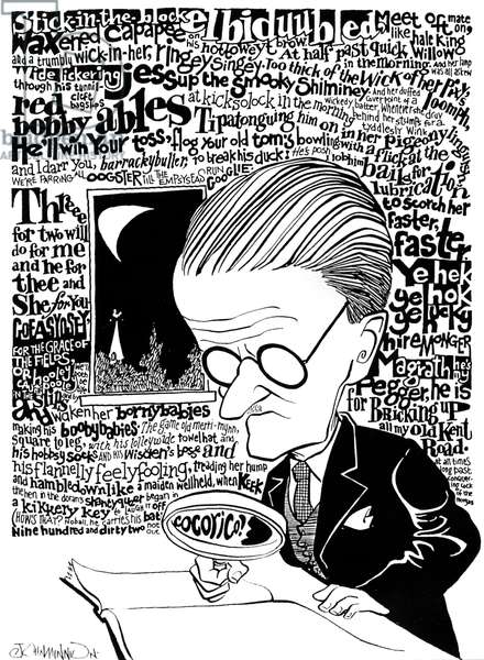 James Joyce, caricature by John Minnion