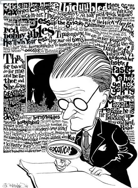 James Joyce, caricature by John Minnion