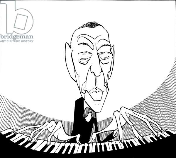Sergei Rachmaninov at keyboard  caricature Russian pianist and composer (1873-1943)