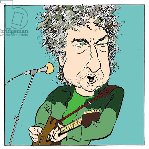 Bob Dylan (older) with guitar American folk singer