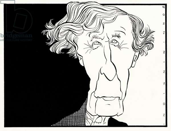 Caricature of  Tippett by John Minnion looking very elderly