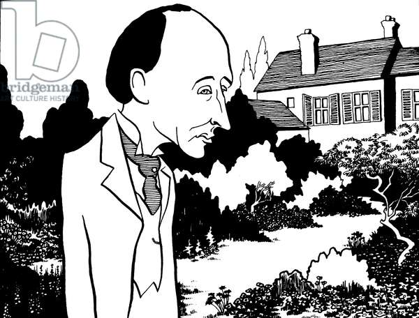 Frederick Delius - caricature by John Minnion - English composer - 29 January 1862 - 10 June 1934