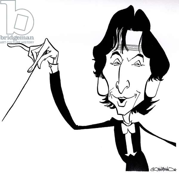 Michael Tilson Thomas - caricature - American conductor, pianist and composer - b