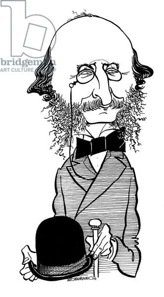 Jacques Offenbach with spectacles and tophat Caricature by John Minnion