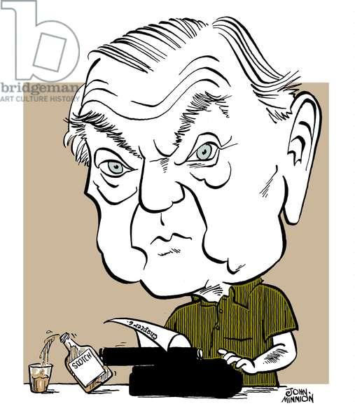 Graham Greene caricature English novelist, short story writer, playwright: 2 October  1904 - 3 April  1991