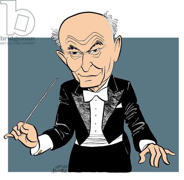 Georg (György) Solti conducting with baton, caricature