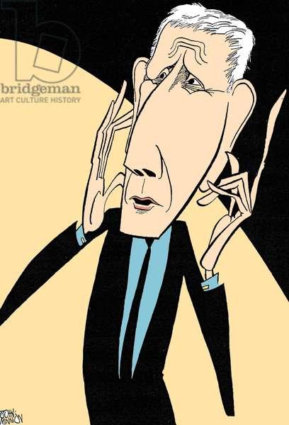 Jonathan Miller, caricature by John Minnion