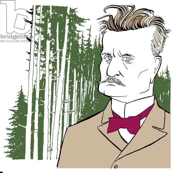 Jean Sibelius against background of Finnish woods