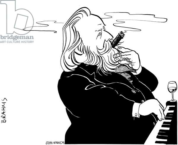Johannes Brahms playing the piano, with a cigar in his mouth and a glass of wine by his side, by John Minnion