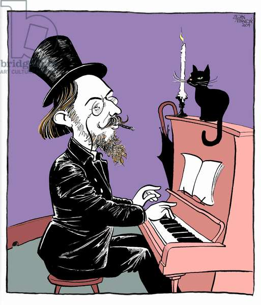 Erik Satie - caricature of the French composer and pianist playing the piano