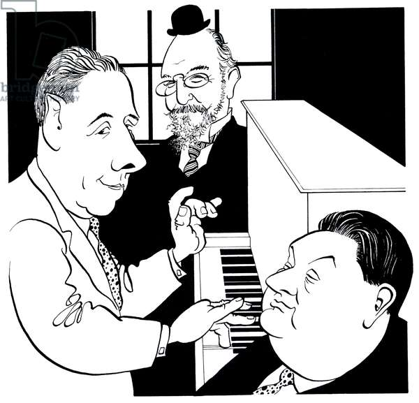 Poulenc, Satie and Milhaud at piano Caricature by John Minnion