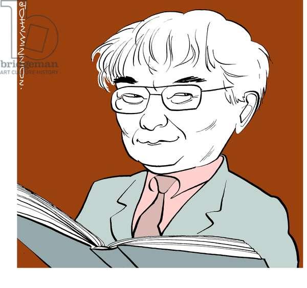 Seamus Heaney caricature, Irish poet, writer and lecturer, Nobel Prize in Literature winner in 1995