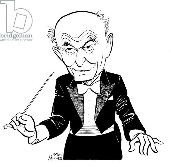 Georg ( György ) Solti conducting with baton - caricature